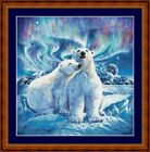 POLAR BEARS UNDER NORTHERN LIGHT- 14 COUNT X STITCH CHART (DMC THREADS) FREE PP
