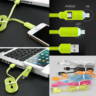 LED 2 IN 1 USB Charger Data Cable Flat Cord Dual-Use For Android or iPhone 5/6