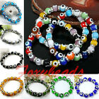 Colorful Elastic Stretchy Lampwork Glass Evil Eye Spacer Bead Bangle Bracelet 7""