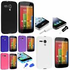 Various TPU Gel Jelly Back Case Cover+Dust Cap Plug w/ pin For Motorola Moto G