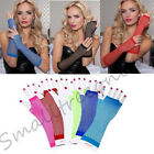 Free Shipping Women Sexy Costume Party Fishnet Fingerless Mesh Arm Long Gloves