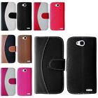For LG Optimus L70 Two Tone PU Leather Flip Wallet Credit Card Slot Cover Case