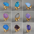 Colorful Agate Druzy Geode Ring / Electroformed Gemstone / Golden HPG082
