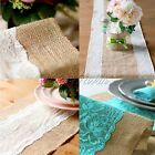Vintage Burlap Lace Hessian Table Runner Natural Jute Wedding Table Decorations