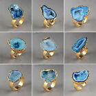 Dazzling Blue Agate Druzy Geode Ring / Electroformed Gemstone / Golden HPG0794