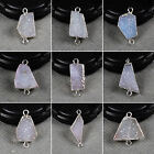 Shiny Natural Agate Druzy Connector / Electroformed Gemstone / Silver HS0903
