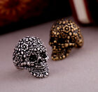 Men Women's Gold/Silver Death's-head Skull Mosaic Prosperous Flower Finger Ring