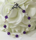 New White Pearl Amethyst Medical ID Alert Replacement Bracelet! Free Shipping!