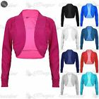 Womens Ladies Stretchy Ribbed Long Sleeves Cotton Bolero Cardigan Shrug Crop Top