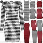 Womens Ladies Dogtooth Strappy Cropped Mini Midi Bodycon Skirt Swing Dress Top