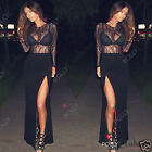 Womens Black Lace Side Split Long Evening Gown Party Prom Ladies Maxi Dress