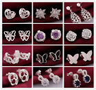 New  Multi shapes White Gold / Silver Plated Crysyals Pierced Stud Earrrings