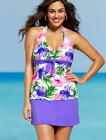 SHORE CLUB Plus Size Purple & Pink Hibiscus Tie Front Skirtini *NWT*