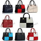 BLACK WHITE BLUE RED CREAM NAVY Faux Leather Chequered Shoulder Grab Bag #153