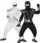 Boys Silver Ghost Halloween Mirror Ninja Samurai Fancy Dress Costume Outfit 4-14