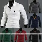 Mens Handsome Stylish Long Sleeve Slim Fit Polo Shirts Tops Casual Tee T-Shirt