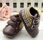 Toddler Baby Boys Brown Plaid Crib Shoes Sneaker Size Newborn to18 Months /V