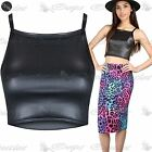 Womens Ladies WetLook Faux Leather High Square Neck Sleeveless Cami Cropped Top