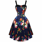 Hearts & Roses London Navy Floral Vintage 50s Prom Swing Flared Dress