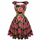 Hearts & Roses London Pink Floral Vintage 50s Prom Swing Flared Dress