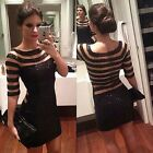 New Sexy Lady Women Black Sequins Stripe Tight Cocktail Evening Dress S/M/L/XL