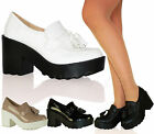 Ladies Women Retro Chunky Cleated Platdorm Sole Loafers Boots Shoes Size