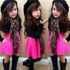 Fashion 2-7 Year Girl Black Long-Sleeve T-shirt + Rose Skirt + Leopard Scarf Set