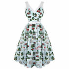 Hell Bunny Souvenir Blue 50s Vintage Style Rockabilly Swing Party Dress