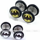 Mens Stainless Steel Bat Fake Cheater Illusion Ear Studs Bar Plugs Earrings Gift