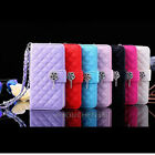 Leather Wallet Stand Flip Wrist Band Case for Apple iphone 6 Plus 6 5s 5c 4s 4