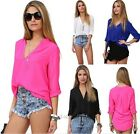 Women's Sexy Fashion Loose Chiffon V-Neck Tops Long Sleeve Shirt Casual Blouse