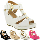 Ladies Mid High Wedge Heel Summer Peeptoe Ankle Strappy Sandals Women Shoes Size