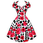 Hearts And Roses London Pink Floral Polka Dot Vintage 50s Rockabilly Prom Dress