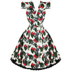 Hearts & Roses London White Vintage 50s Retro Party Prom Swing Flare Tea Dress