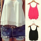 New Women Bilayer Sleeveless Shirt Chiffon Loose Vest Tank Tops Excellent