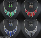 New Jewelry Sets Cluster Chain Choker Chunky Statement Bib Necklace Earrings