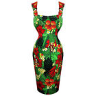Mujer Verde Floreado Tropical Goddess Vestido De Tubo Rockabilly Vintage Retro