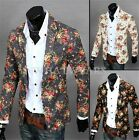 Mens Casual Dress Slim Fit Stylish Flower Print Suit Blazer Coats One Button GBW
