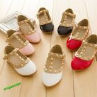 Hot Sale Princess Girls Kids Sandals Rivet Buckle T-strap Flat Shoes 16 Sizes