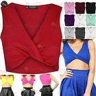 Womens ladies V Neck Twist Cropped Tops Celeb Sleeveless Wrap Twisted Tee Vest
