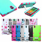 For ZTE ZMAX Z970 Hybrid Tuff Rubber Protective Hard Case Cover w/ Stand