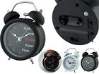 Twin Bell Metal 9cm Analog Alarm Clock with Light Mix Word Numbers
