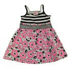 Sugah & Honey Toddler Girls Black Striped Floral Print Dress Size 2T 3T 4T $24