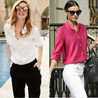 Women Cotton Blouse Loose Casual Style Shirt Tops Blouse Shopping OL Wear 6-16