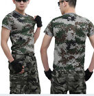 Men Women Camouflage Camo Tactical Military Combat Army Short Sleeve T-Shirt Tee