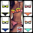 UK Womens Sexy Bandage Triangle Bikini Push-up Swimsuit Swimwear Patchwork