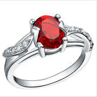 Exquisite Red Crystal Natural 925 Sterling Silver Ring Size 5-9 Jewelry A1095
