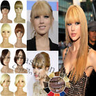 UK Clip In Hair Extensions Bangs Fringe Hairpiece All Color for 2015 human made