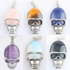 1PC Gemstone Stone Metal Skull Head Bead Pendant Charms Jewelry Fit Necklace