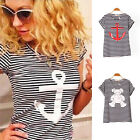 Navy Striped with Printed Anchor Bear women T-shirts short Baw Sleeve S-XL